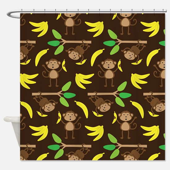 Monkeys Bananas Brown Shower Curtain