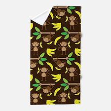 Monkeys Bananas Brown Beach Towel