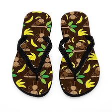 Monkeys Bananas Brown Flip Flops