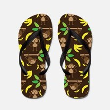 Monkeys Bananas Brown Flip Flops