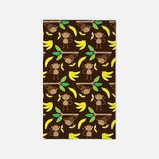 Monkeys Bananas Brown 3'x5' Area Rug