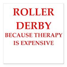 """roller derby Square Car Magnet 3"""" x 3"""""""