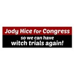 Jody Hice For Congress With Witch Bumper Sticker