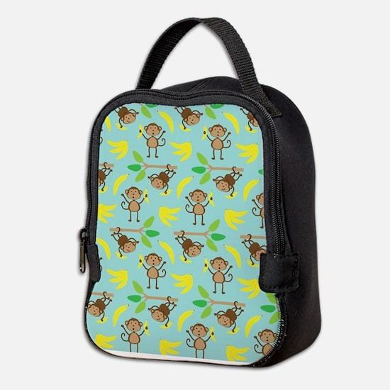 Monkeys Bananas Aqua Neoprene Lunch Bag