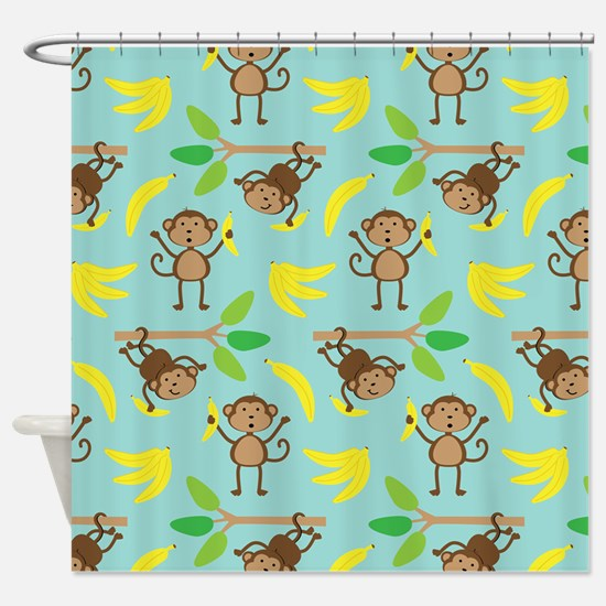 Monkeys Bananas Aqua Shower Curtain