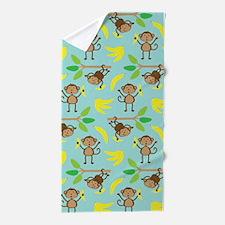 Monkeys Bananas Aqua Beach Towel