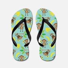 Monkeys Bananas Aqua Flip Flops