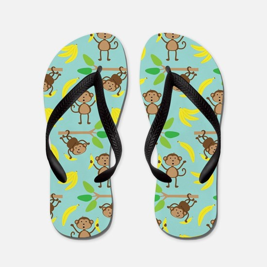 Monkeys Bananas Aqua Flip Flops