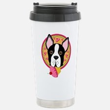 Boston Terrier with Cup Stainless Steel Travel Mug