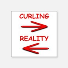 "curling Square Sticker 3"" x 3"""