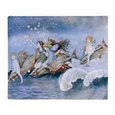 Vintage Sea Fairies Kids Throw Blanket
