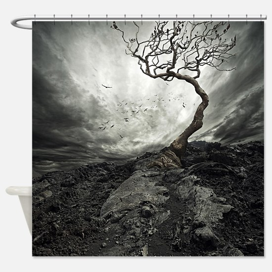 Dark Tree Shower Curtain