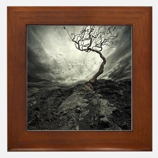 Dark Tree Framed Tile