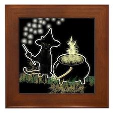 Black Cat Witch Framed Tile