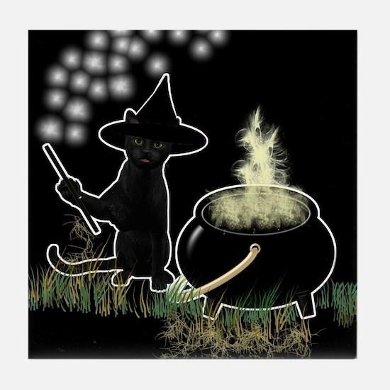 Black Cat Witch Tile Coaster