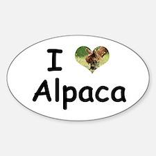 I Love Alpaca-Brown Oval Decal