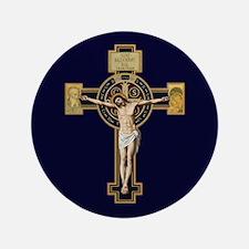 """Benedictine Crucifix 3.5"""" Button"""