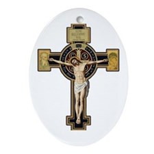 Cute Saint benedict Ornament (Oval)