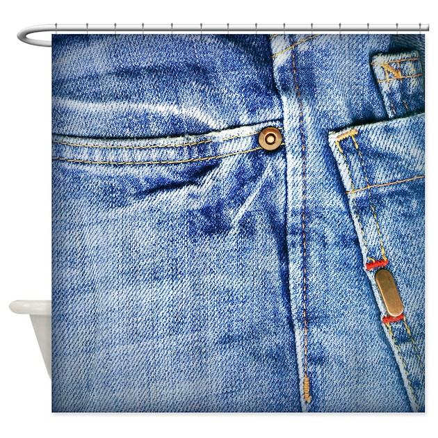 Denim Blue Jeans Shower Curtain By WheePattern