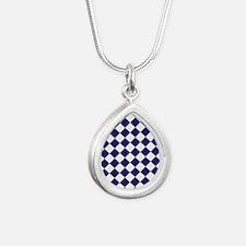 Diamond Check Navy Silver Teardrop Necklace