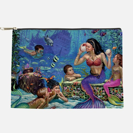 Mermaid And Her Children  Makeup Pouch