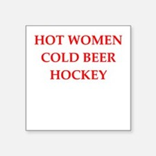 "hockey Square Sticker 3"" x 3"""