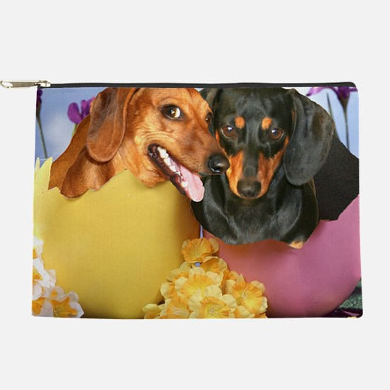 easter eggs and dogs copy Makeup Pouch