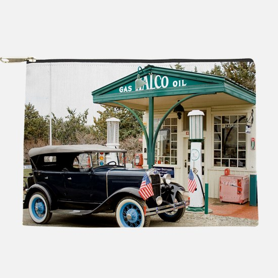 Model A at gas station Makeup Pouch