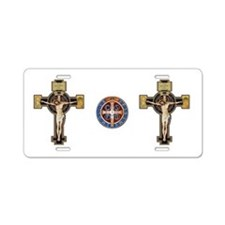 Benedictine Crucifix and Medal Aluminum License Pl