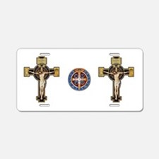 Benedictine Crucifix and Medal Aluminum License Pl