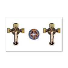 Benedictine Crucifix and Medal Rectangle Car Magne