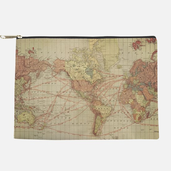 Vintage world map Makeup Pouch