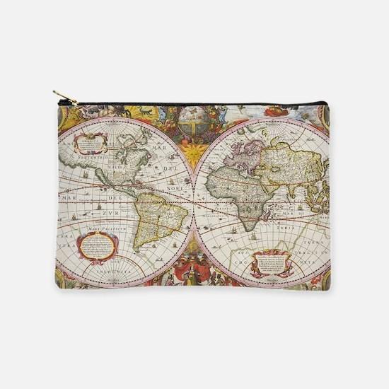 Antique World Map Makeup Pouch