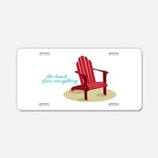 Beach Fixes Everything Aluminum License Plate
