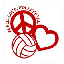 """PEACE, LOVE, VOLLEYBALL Square Car Magnet 3"""" x 3"""""""
