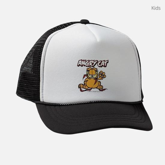 angry_cat Kids Trucker hat