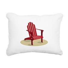 Red Beach Chair Rectangular Canvas Pillow