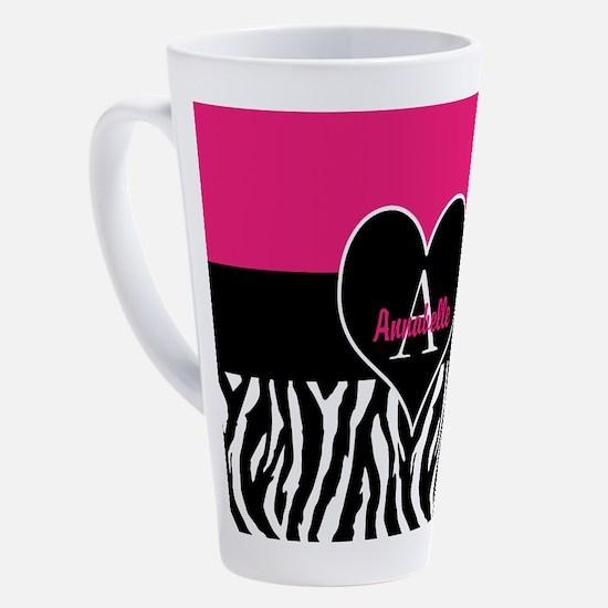 Pink Zebra Heart Monogram Personalized 17 oz Latte