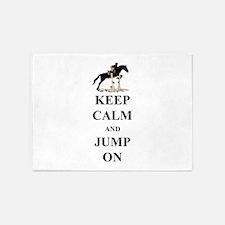 Keep Calm and Jump On Horse 5'x7'Area Rug