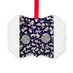 Abstract Whimsical Flowers Picture Ornament