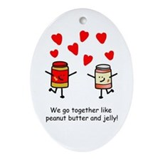 Peanut Butter and Jelly Ornament (Oval)