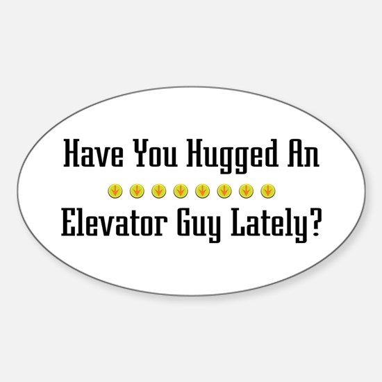 Hugged Elevator Guy Oval Decal