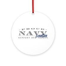 Proud Navy Cousin (blue) Ornament (Round)
