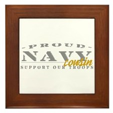 Proud Navy Cousin (gold) Framed Tile
