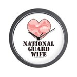 National Guard Wife Camo Heart Wall Clock