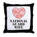 National Guard Wife Camo Heart Throw Pillow