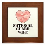 National Guard Wife Camo Heart Framed Tile