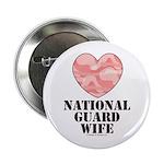 National Guard Wife Camo Heart Button