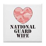 National Guard Wife Camo Heart Tile Coaster