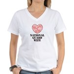National Guard Wife Pink Camo Heart V-Neck T-shirt